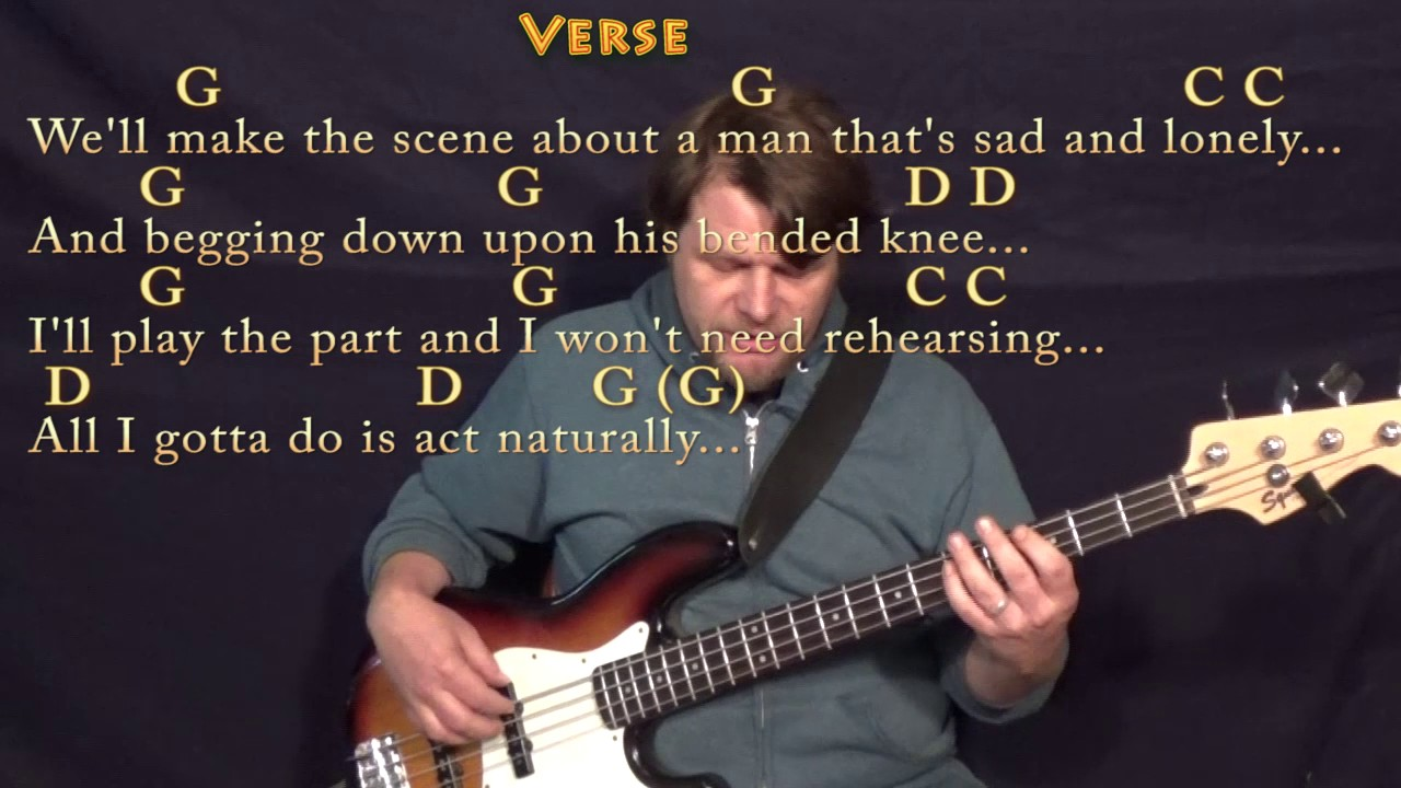 Act Naturally The Beatles Bass Guitar Cover Lesson With Chords