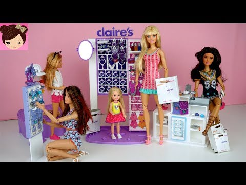 Barbie Sisters Shopping Routine at Claires - Chelsea Gets Her Ears Pierced
