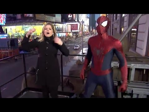 Download Youtube: Spider-Man Fails to Catch ABC News Reporter Sara Haines From Falling