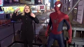 Spider-Man Fails to Catch ABC News Reporter Sara Haines From Falling
