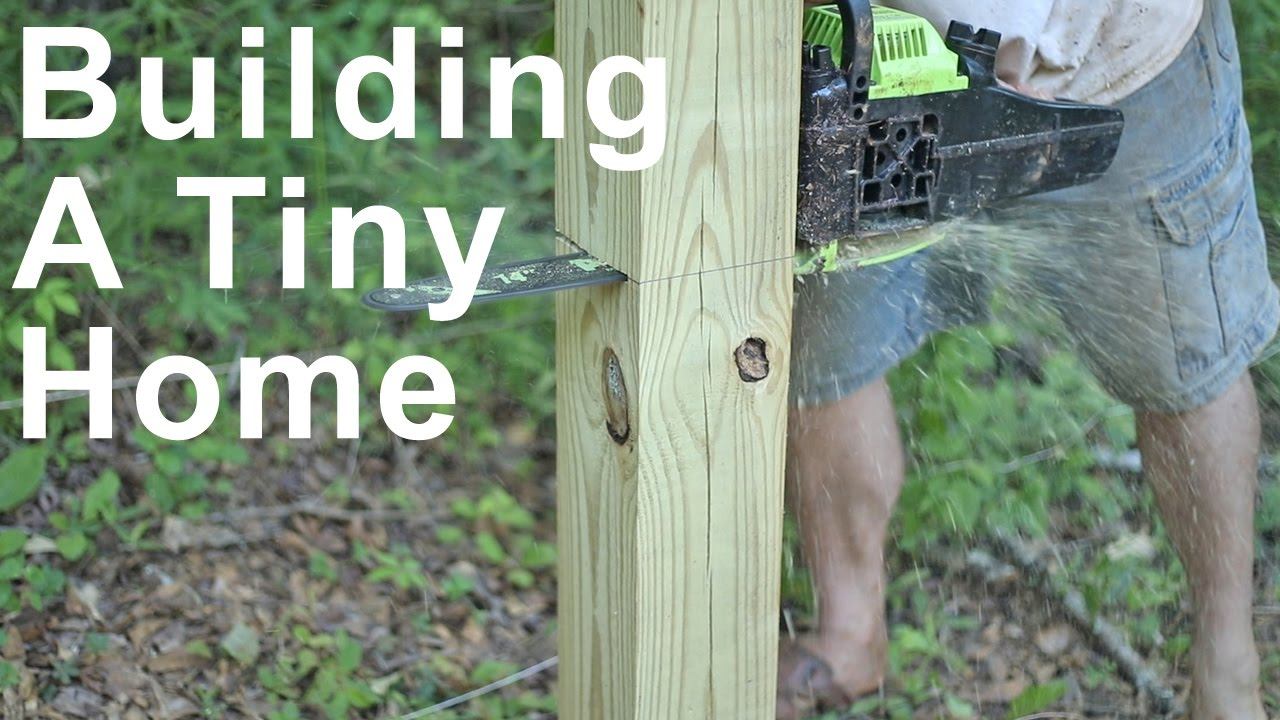 Download Tiny Home Building - Cutting The Foundation Posts - Building On Stilts