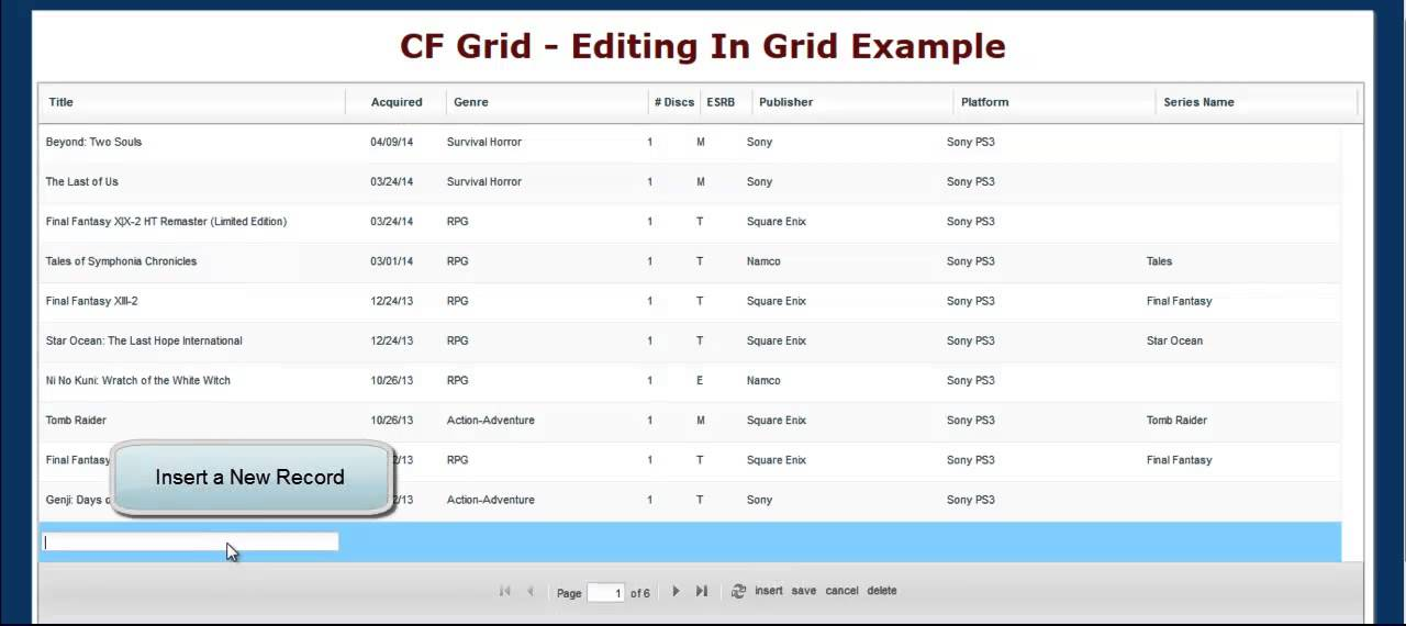 Eclectic Thoughts » Replacing CFGrid with DataTables, Part 3