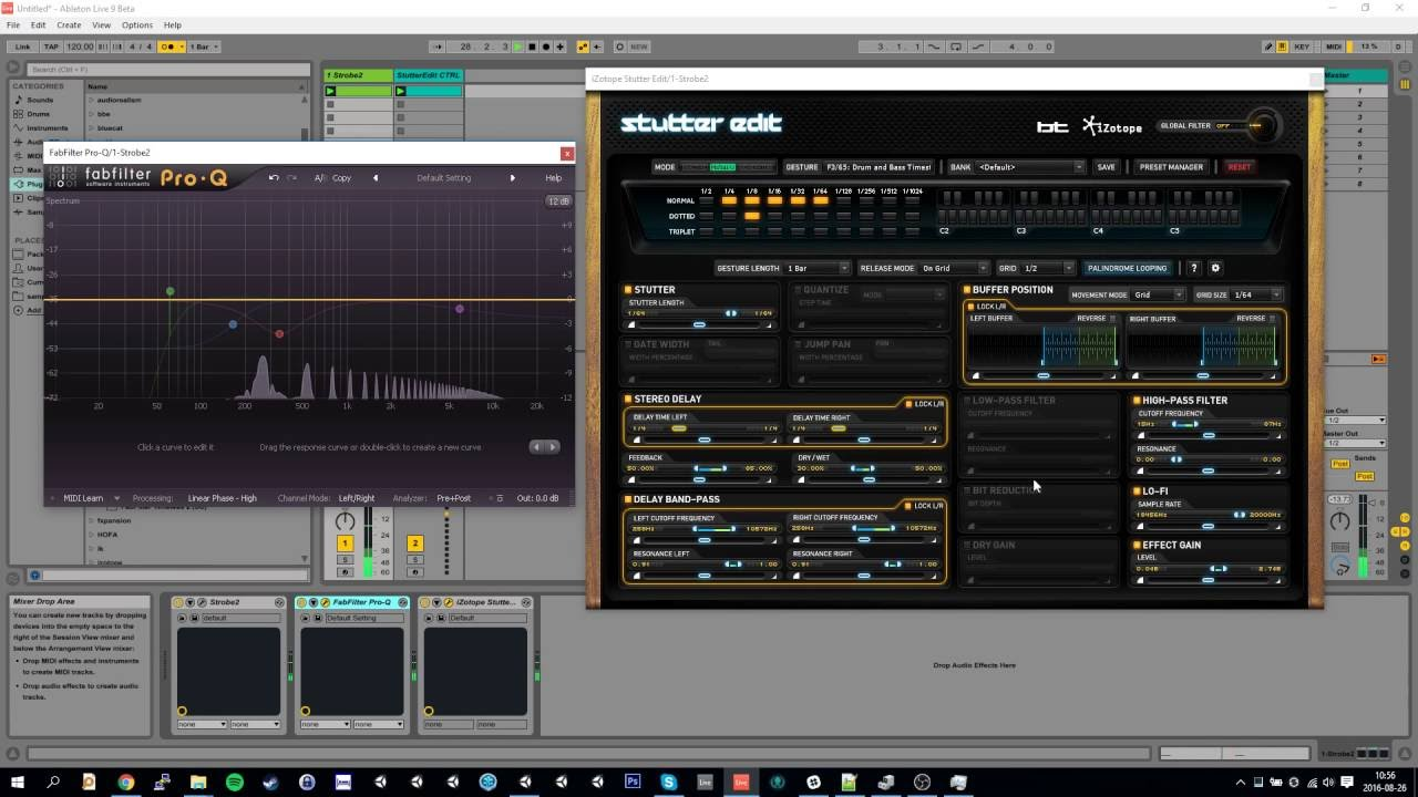 Ableton Live with Stutter Edit and high latency plugins