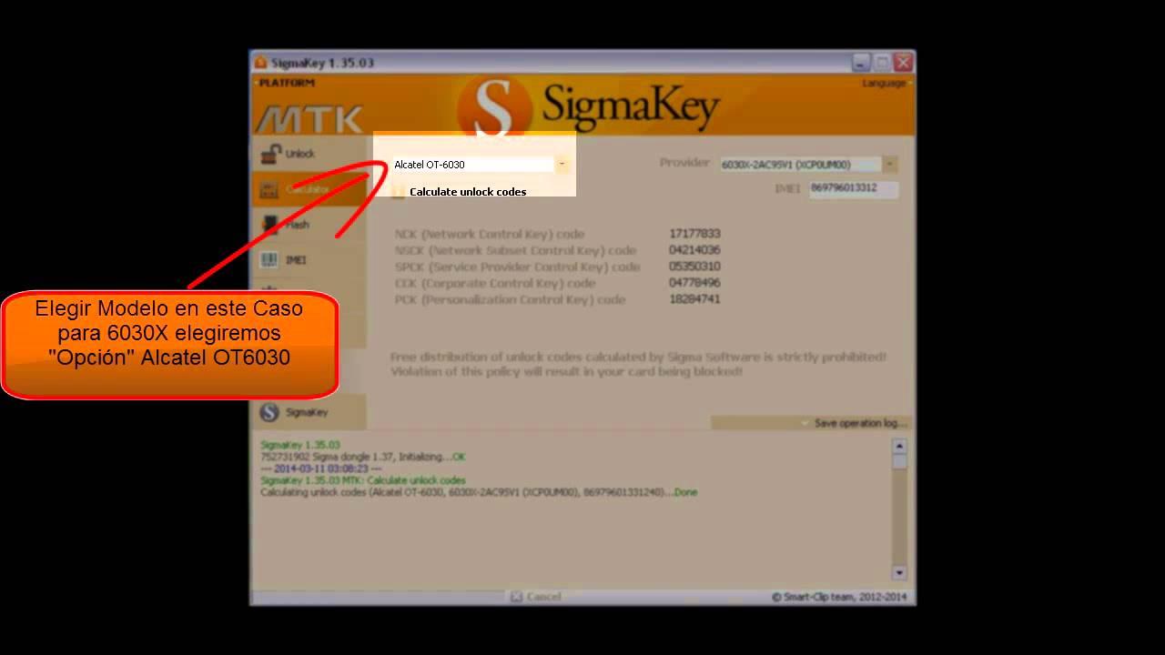 Unlock Alcatel Idol 6030x Sigma Box ó Sigma Key