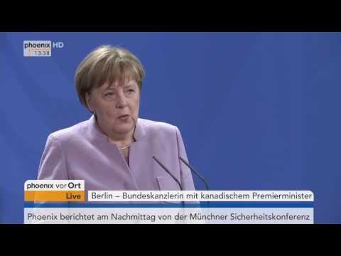 CETA-Abkommen: Pressekonferenz von Angela Merkel und Justin Trudeau am 17.02.2017