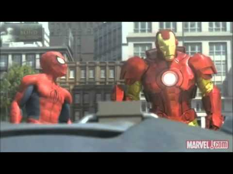 Spiderman hulk ironman vs giant robot