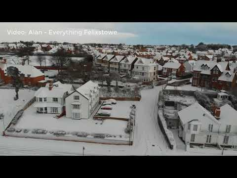 Incredible aerial footage shows Felixstowe covered in heavy snow as Beast from the East  hits!