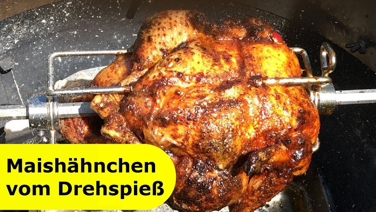 Pulled Pork Gasgrill Drehspiess : 033 maishähnchen vom drehspieß einach und sehr lecker