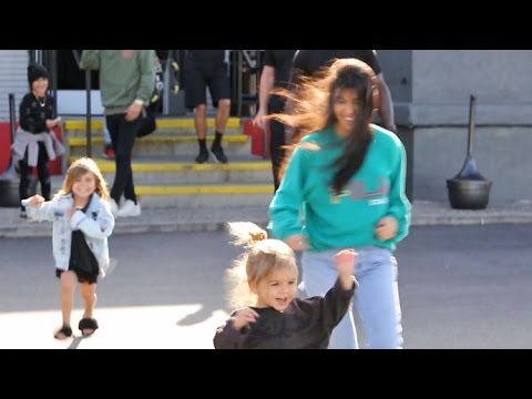 Reign Disick Runs Away From Kourtney Kadarshian And Scott Disick To Photographers At Bowling Alley