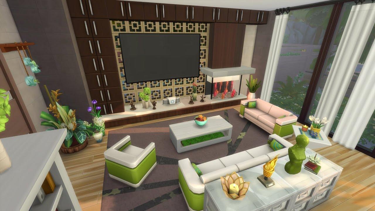 Les sims 4 maison dans les bois l 39 int rieur 2 2 sans cc youtube for Maison prefabriquee sims 4