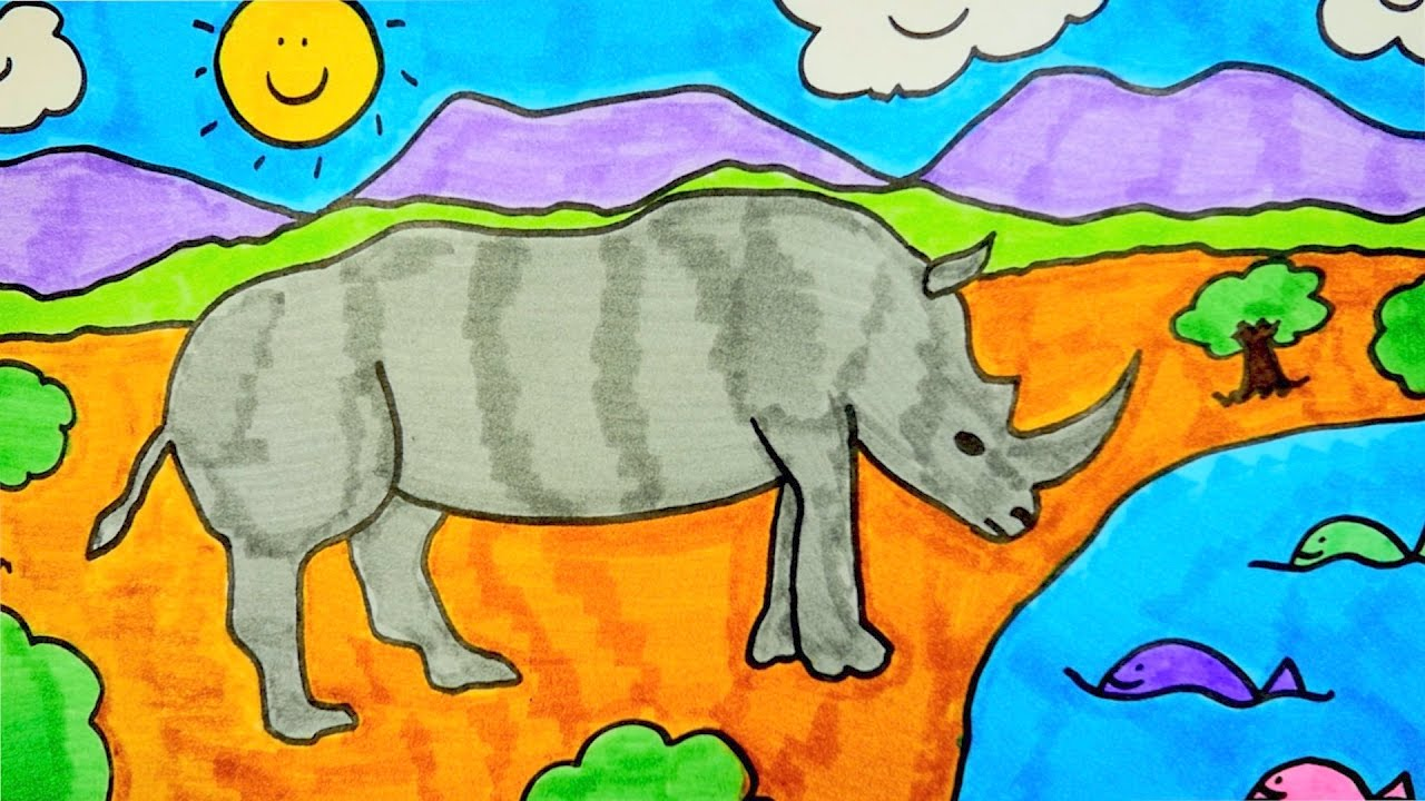 How To Draw A Rhino, Step By Step Drawing For Kids - YouTube