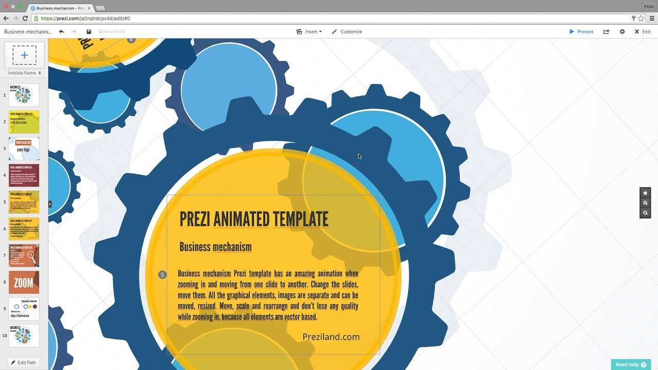 How to change animated Prezi template slide background with Prezi ...
