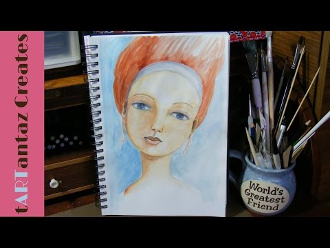 watercolour painting of a girls face art process