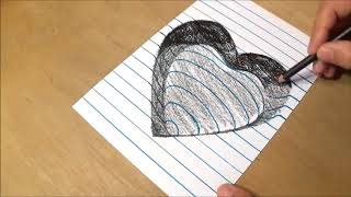 Drawing Heart with Charcoal Pencils   Trick Art on Line Paper   Drawing 3D Heart720p