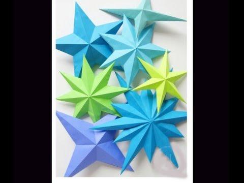Quick and easy 3d paper star estrella de la navidad for 3d paper star decoration