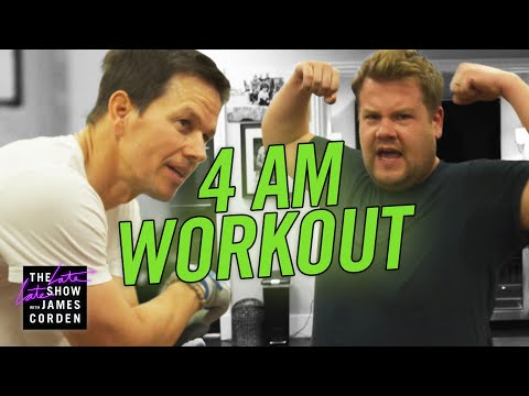 Courtney and KISS in the Morning - James Corden Joins Mark Wahlberg's 4am Workout Club