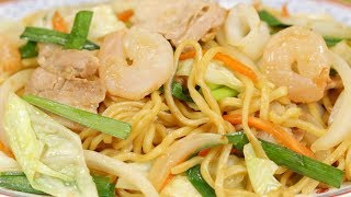 Seafood Yakisoba Recipe (Stir-Fried Noodles with Shrimp Squid and Pork)  | Cooking with Dog