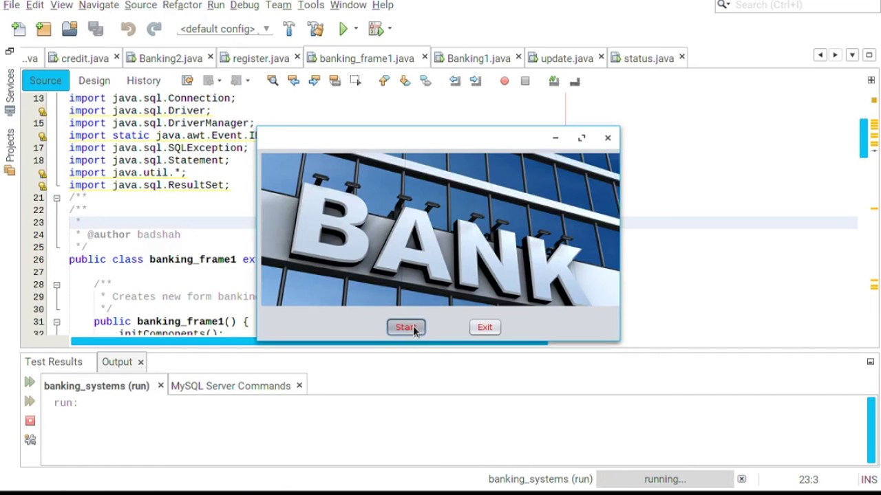 Java JFrame simple Project Bank Management using MySql database connection  at netbeans