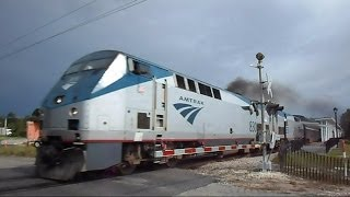 Amtrak Auto Train Roars By Sunrail Train Station