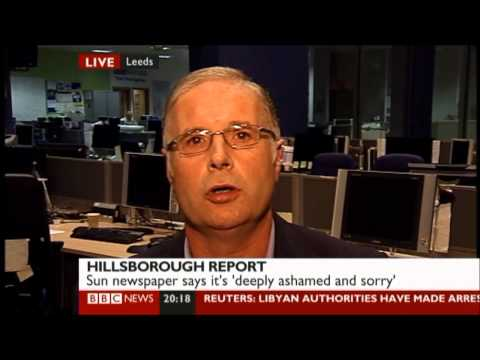 Mike Pannett on BBC News Channel 13/09/12 discussing the Hillsborough Report