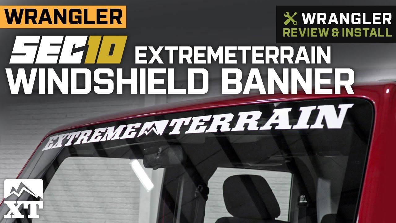 hight resolution of jeep wrangler extremeterrain windshield banner 1987 2018 wrangler yj tj jk review install