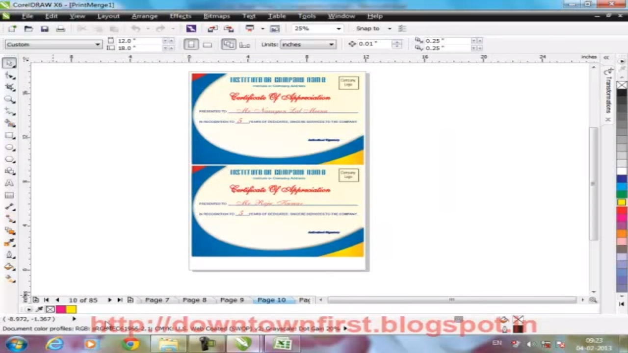 How to Print Certificate with different field & records using print merge  in Corel Draw