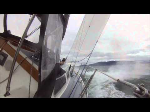 High wind sailing on Bellingham Bay - heavy weather on Horizen Nov 18 2012 - Catalina 36