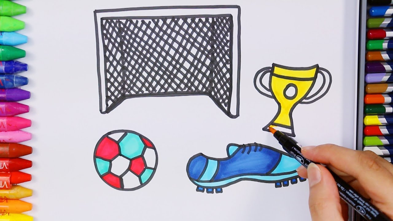 lowest price 20a92 e88e6 Dibujar fútbol figuras pelota zapatos de fútbol con a mi burro cancion cómo  dibujar colorear jpg