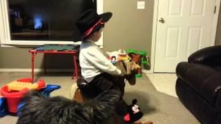 Ryan Riding On His Rocking Horse