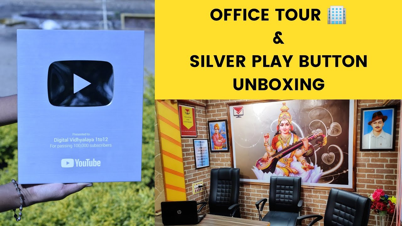 Silver play button unboxing | office tour | 100k & 200k celebration | digital vidhyalaya 1 to 12