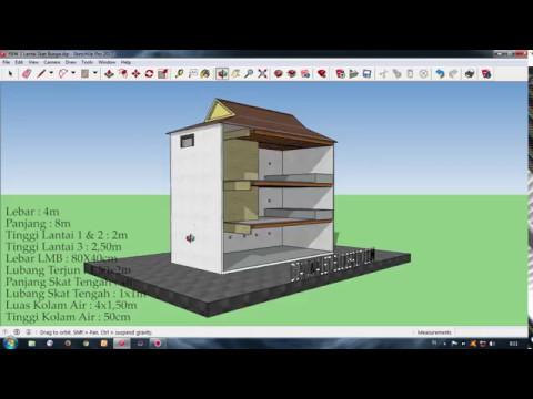 Desain Rumah Burung Walet RBW 4x8 3 Lantai Skat Tengah