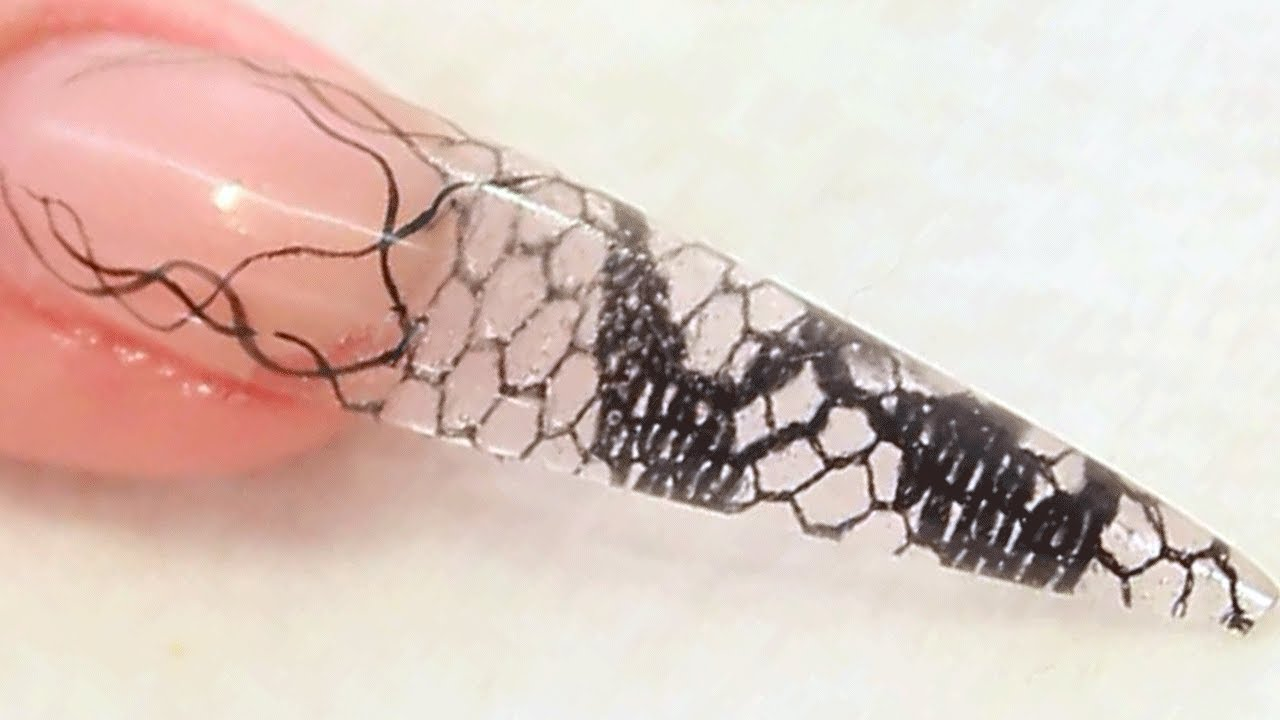 Encapsulated Lace Netting Stiletto Acrylic Nail Tutorial Video by ...