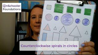 D2-Drawing counterclockwise spirals in circles (Handwriting stroke #3 for preschool or kindergarten)
