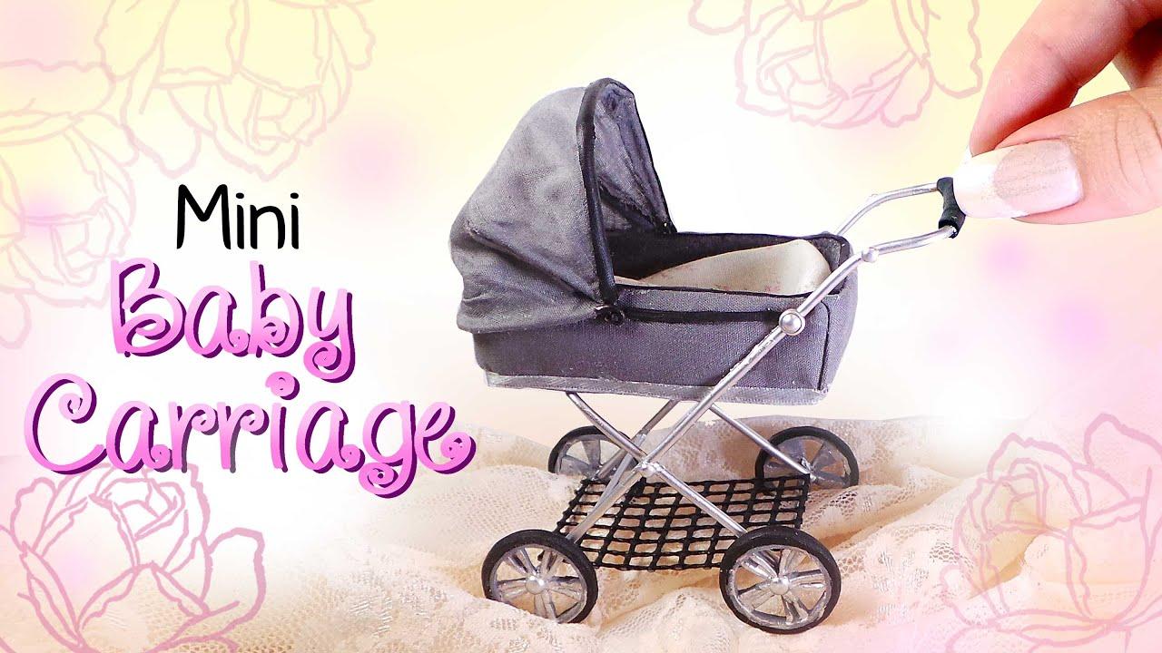 Miniature Baby Carriage Tutorial Diy Dolls Dollhouse Youtube Bouncer Sugar Toys