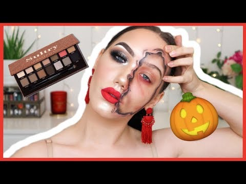 HALF FACE HALLOWEEN MAKEUP TUTORIAL WITH ABH SULTRY PALETTE | MAKEMEUPMISSA