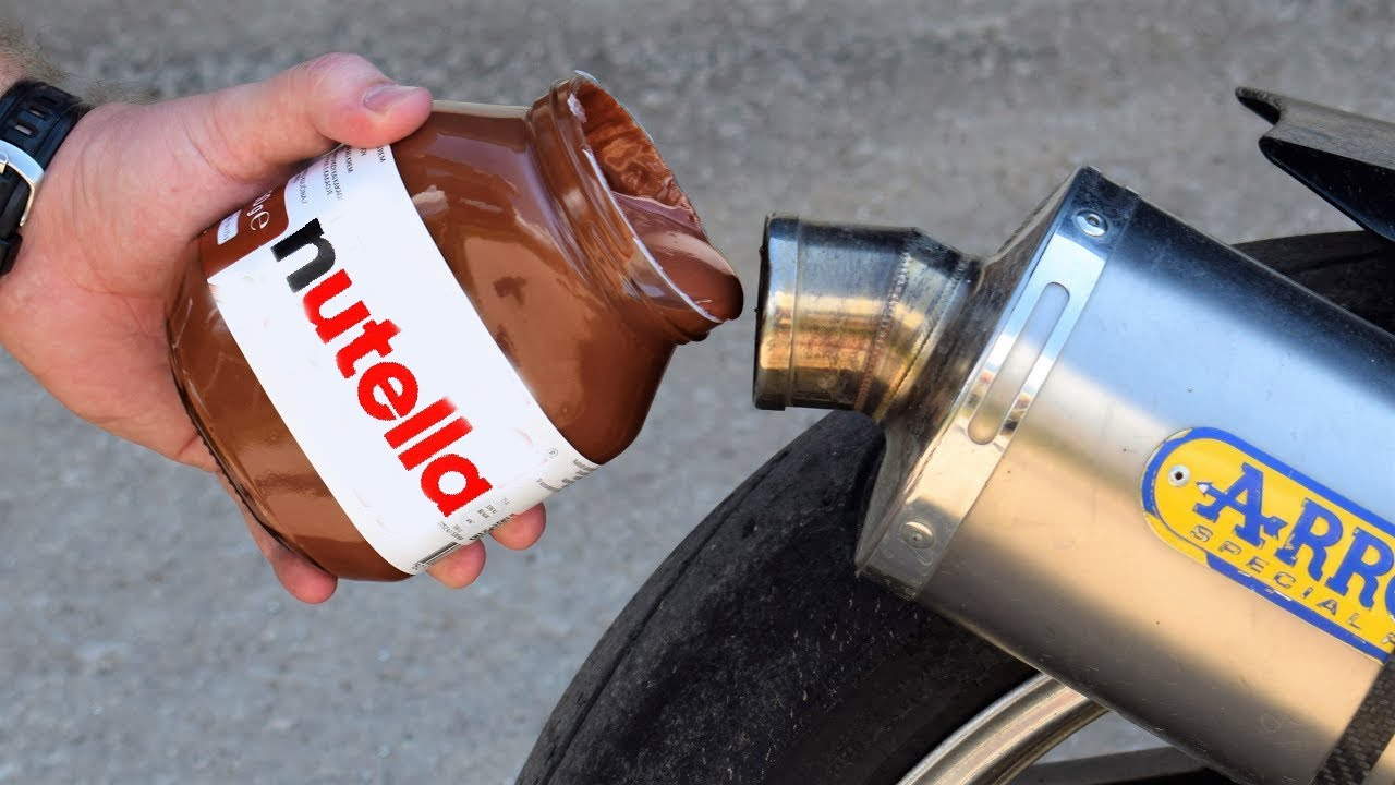 EXPERIMENT NUTELLA IN MOTORCYCLE EXHAUST