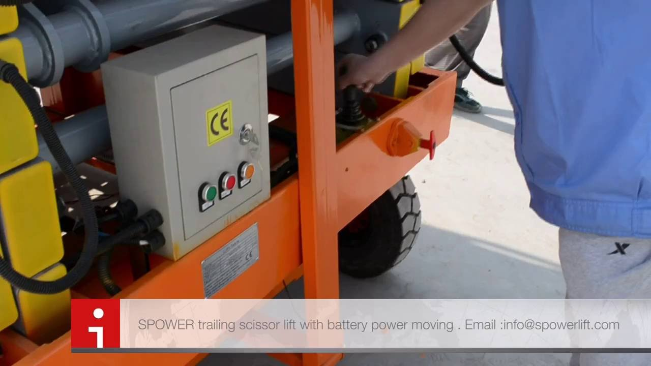 Mobile scissor lift platform with battery power moving