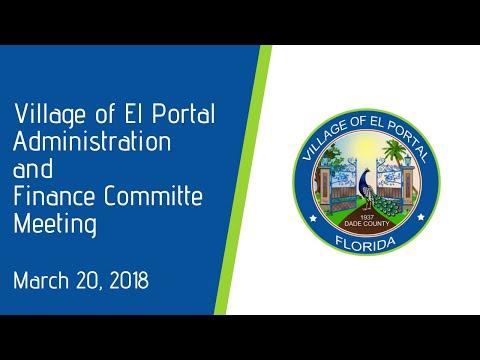 Village of El Portal Administration & Finance March 20, 2018