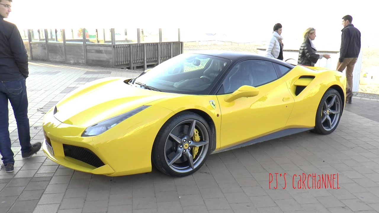 yellow ferrari 488 gtb driving sounds youtube. Black Bedroom Furniture Sets. Home Design Ideas