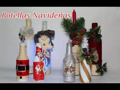 8 Botellas Decoradas Navideñas