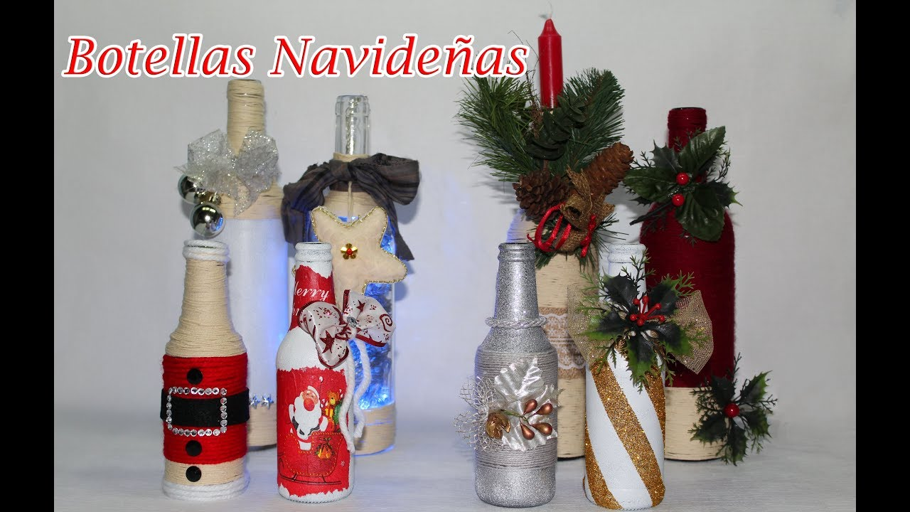 8 botellas decoradas navide as youtube for Botellas de vidrio decoradas para navidad