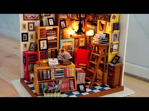 Unboxing Hands Craft DIY 3D Wooden Puzzle DG102 Library Miniature House for Crafting