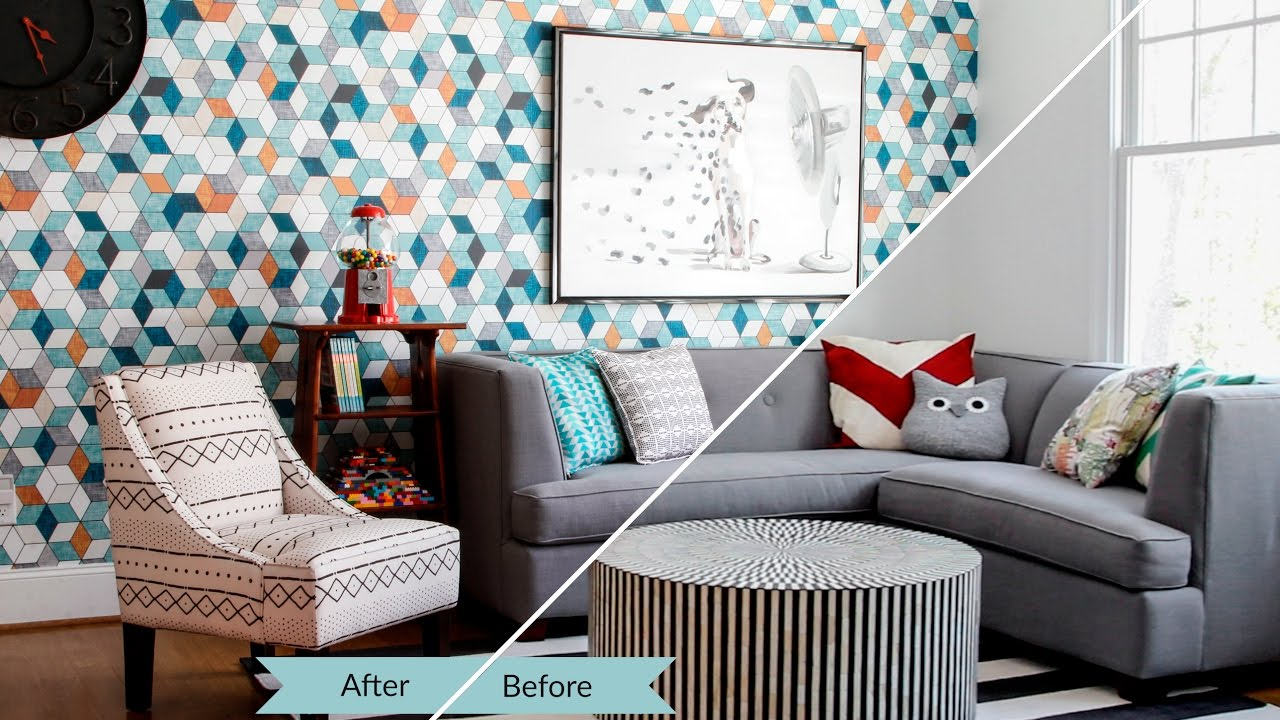 AMAZING Room Makeover With Spoonflowers Woven Wallpaper