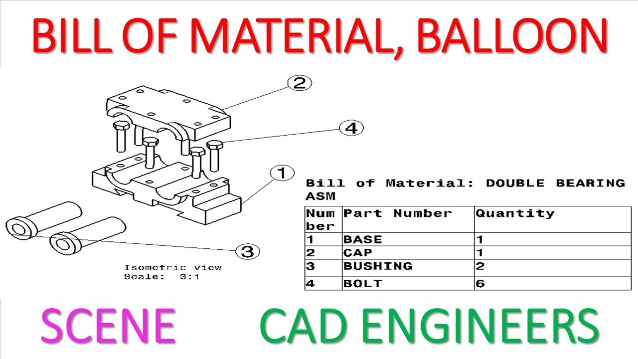 34  ASSEMBLY DRAFTING ( SCENE,BILL OF MATERIAL,BALLOON