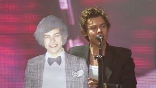 Harry with his cardboard cutout on stage!
