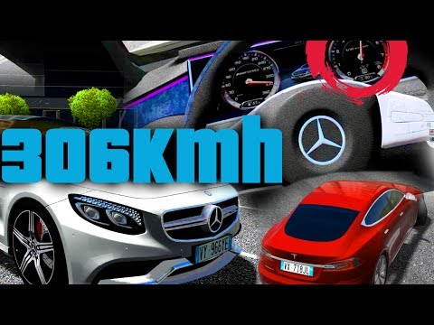 City Car Driving - Mercedes S63 306km/h + Tesla Drift!!!