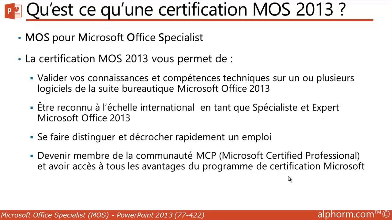 Alphorm formation mos powerpoint 2013 77 422 prsentation alphorm formation mos powerpoint 2013 77 422 prsentation des certifications office 2013 youtube xflitez Image collections