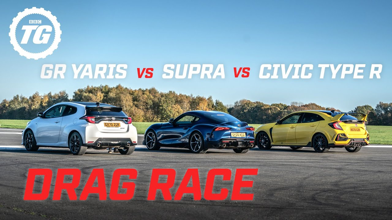 DRAG RACE: Toyota GR Yaris vs Toyota Supra vs Honda Civic Type R | Top Gear