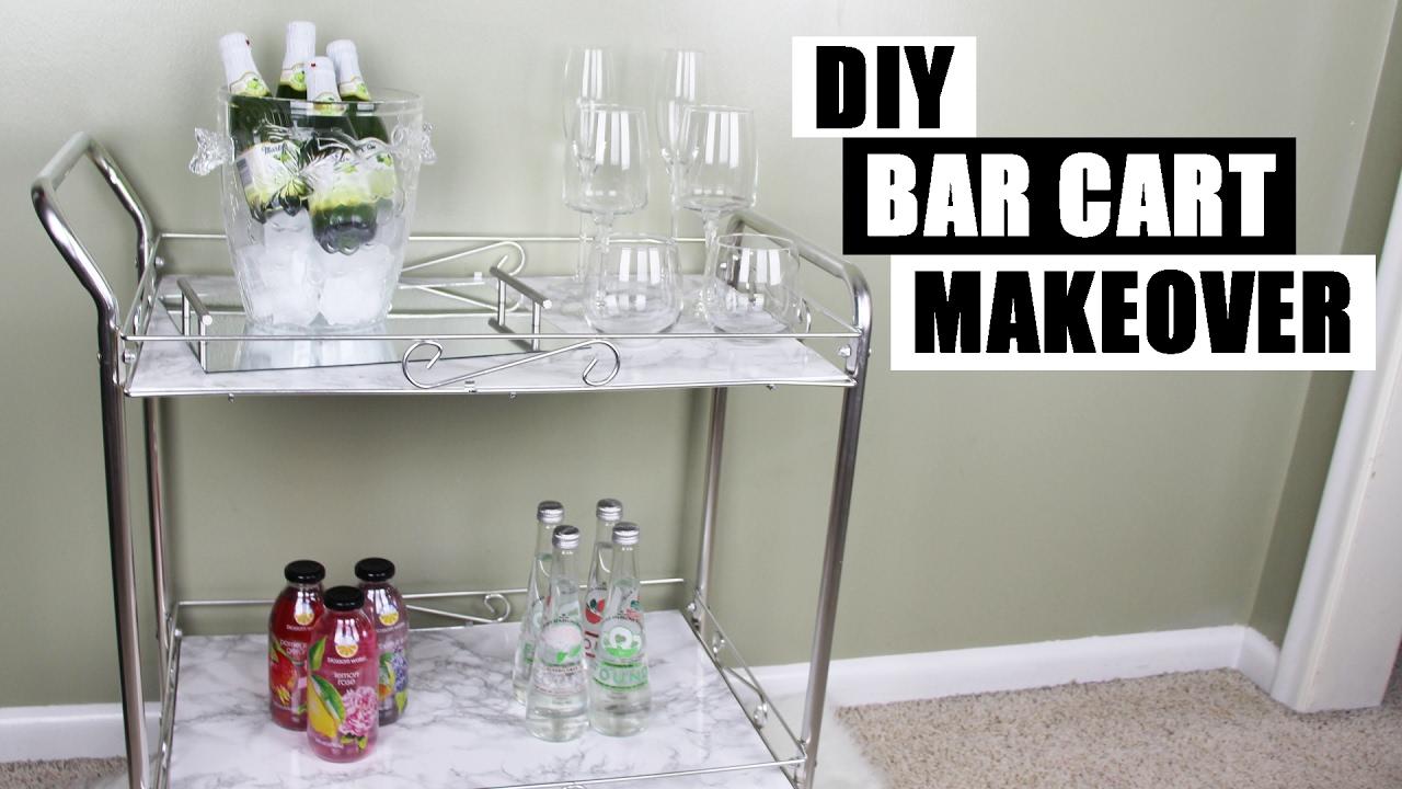 DIY BAR CART MAKEOVER   How To Style A Bar Cart   DIY Faux ...