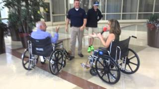 Dennis and Judi compete in the first annual RWJUH Wheelchair Race